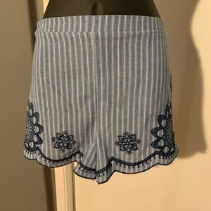 lk nw Flying Tomato blue stripe embroidered shorts